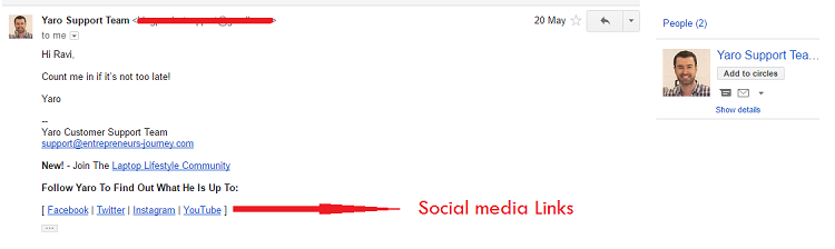 Social media links in Email Signature