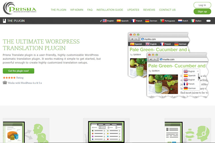 Google website translator plugin by Prisna
