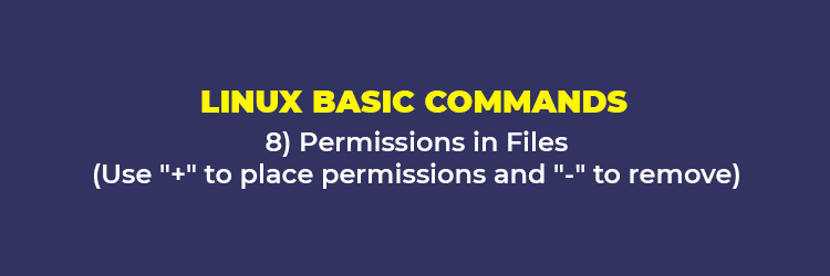 "Linux Basic Commands: Permissions in Files (Use ""+"" to place permissions and ""-"" to remove)"