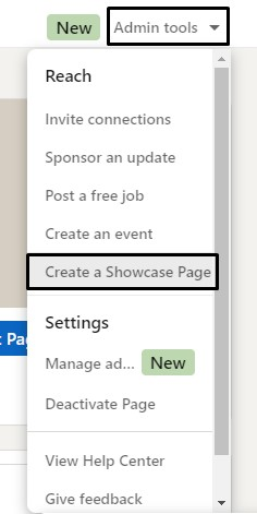 Create a Showcase Page: LinkedIn Company Page