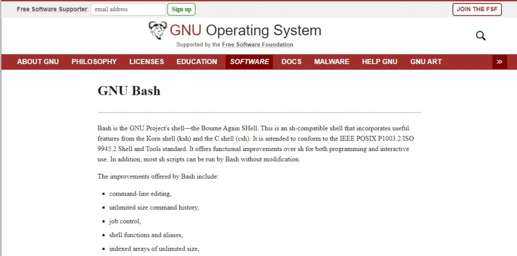 Bash (the acronym stands for 'Bourne Again SHell)