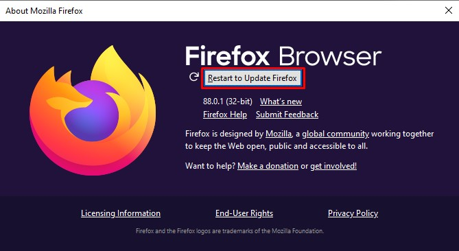 Restart to update Firefox